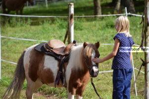 Mädchen streichelt Pony im Kinderdorf